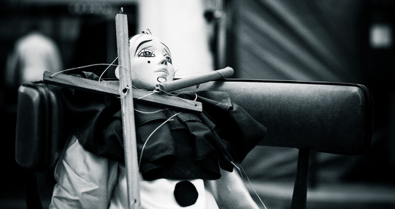 Puppet (black and white).
