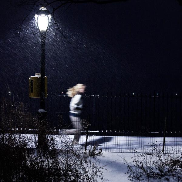 Winter jogging in central park.
