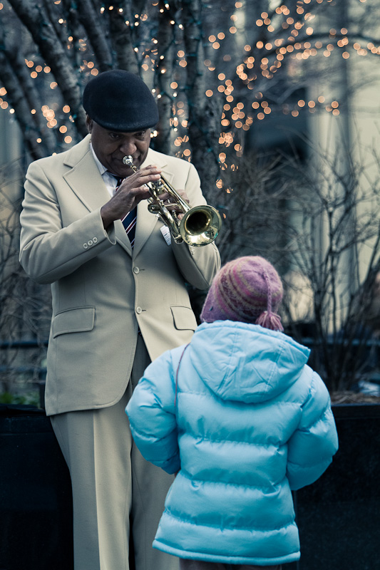 The trumpet and the little girl.