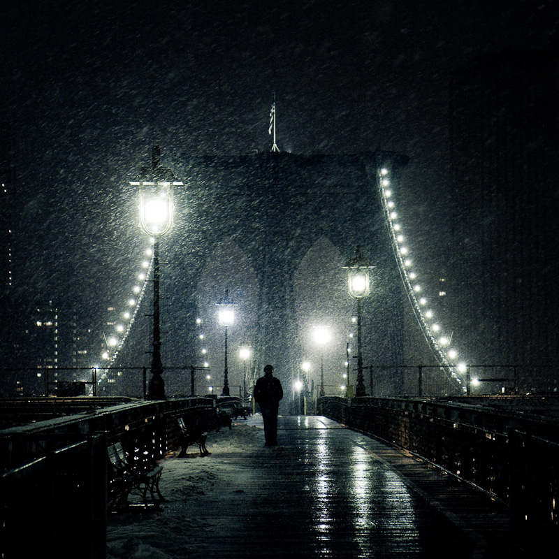 Back to snowy Brooklyn Bridge.