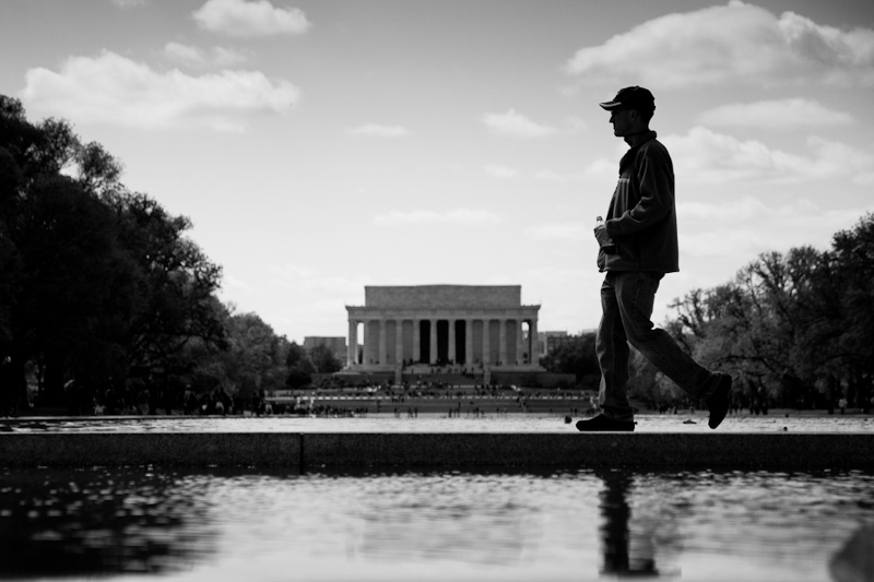In front of the Lincoln Memorial.
