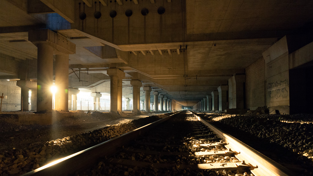 The rails under the library.