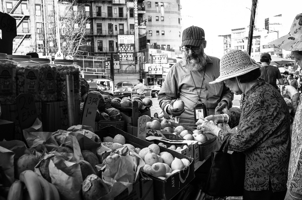 At the street market.