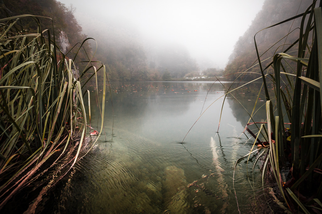 Mists in Plitvice lakes.