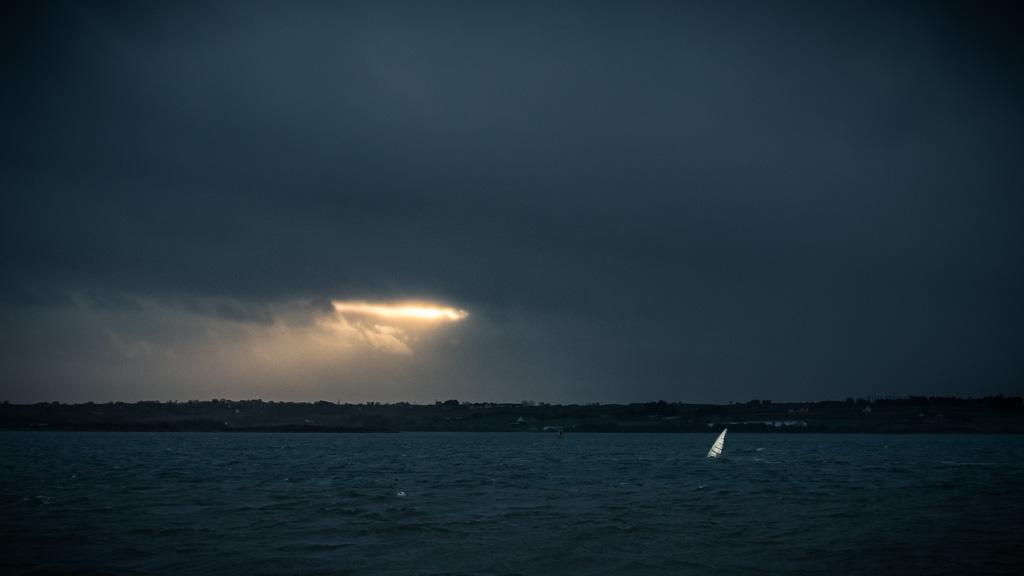 Windsurfing in Morlaix' bay.