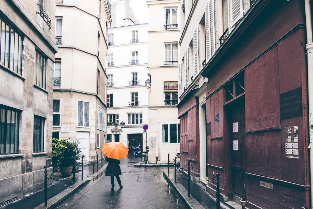 The orange umbrella.