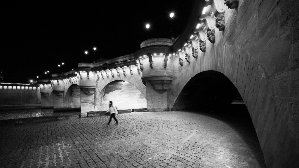 Passing under the Pont Neuf.