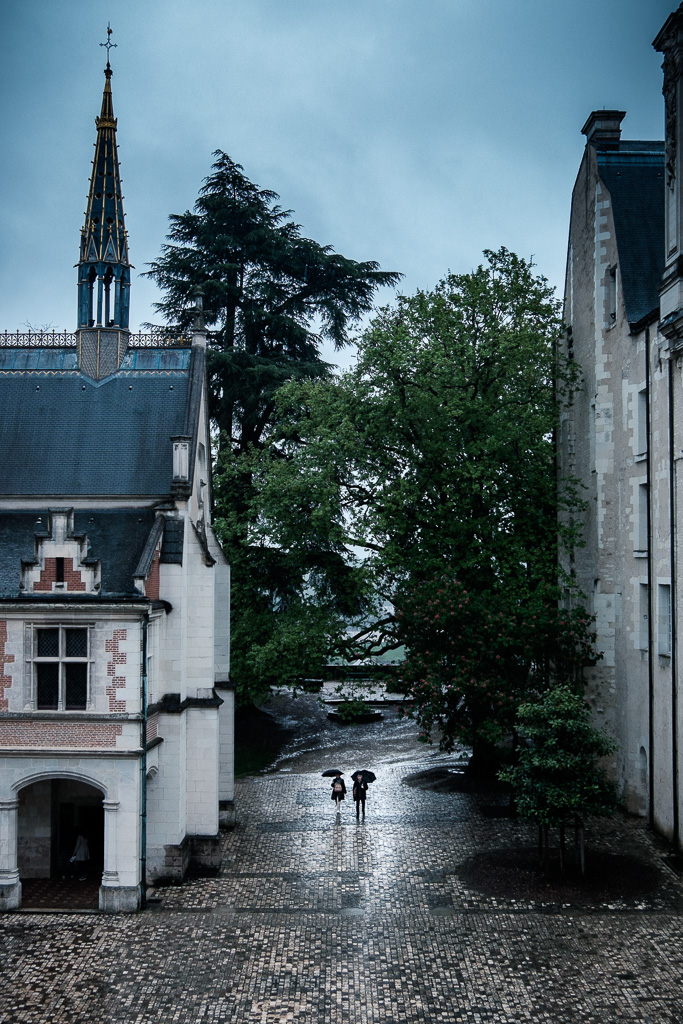 A rainy day in a royal courtyard.