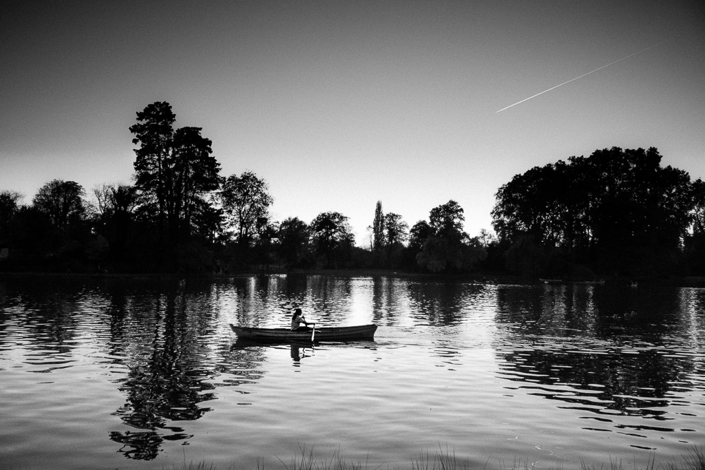 Rowing in the evening.