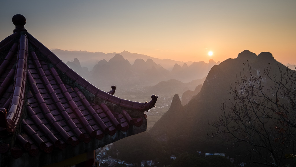 Sunrise over Xingping.