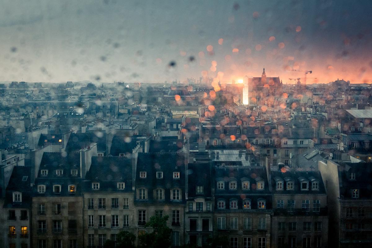 Sunset over rainy Paris.