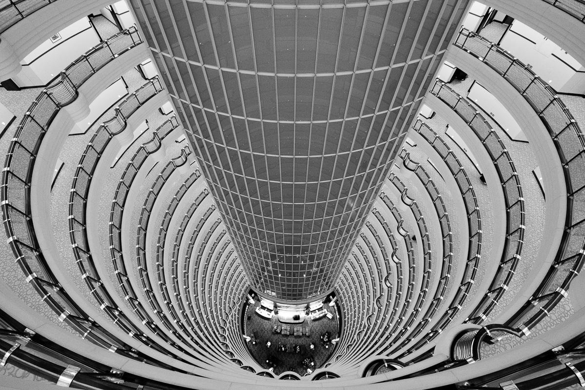 Inside Jin Mao Tower.