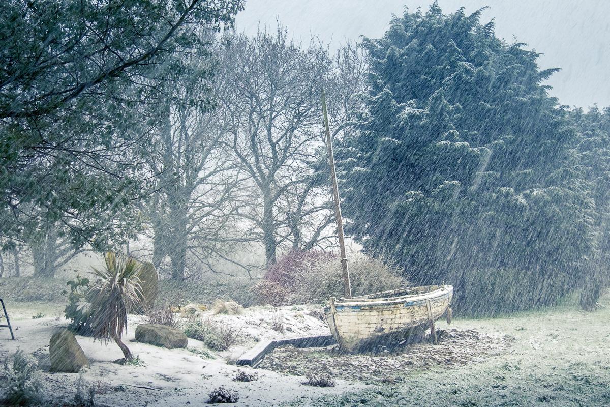 Stranded in the snow.