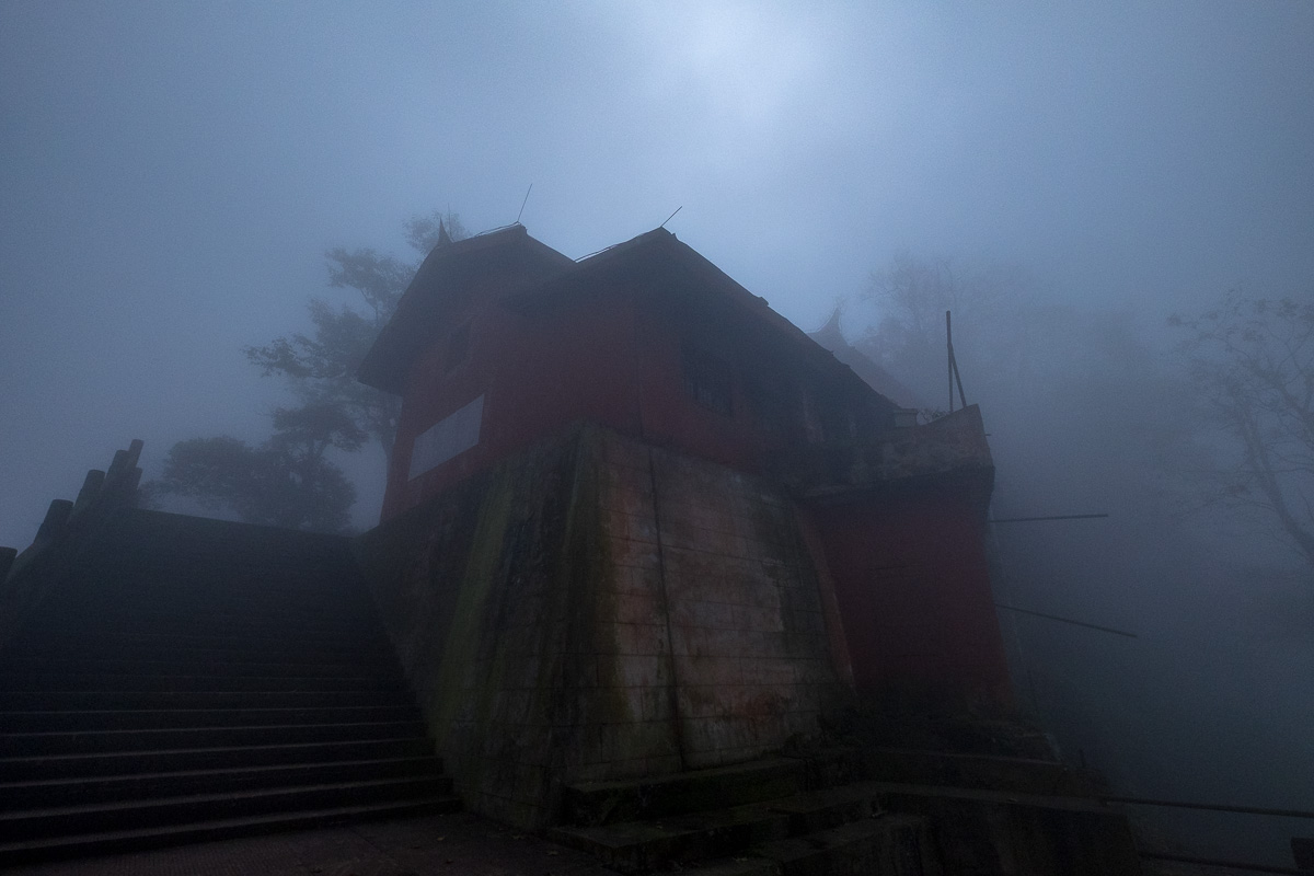 The temple in the mist.