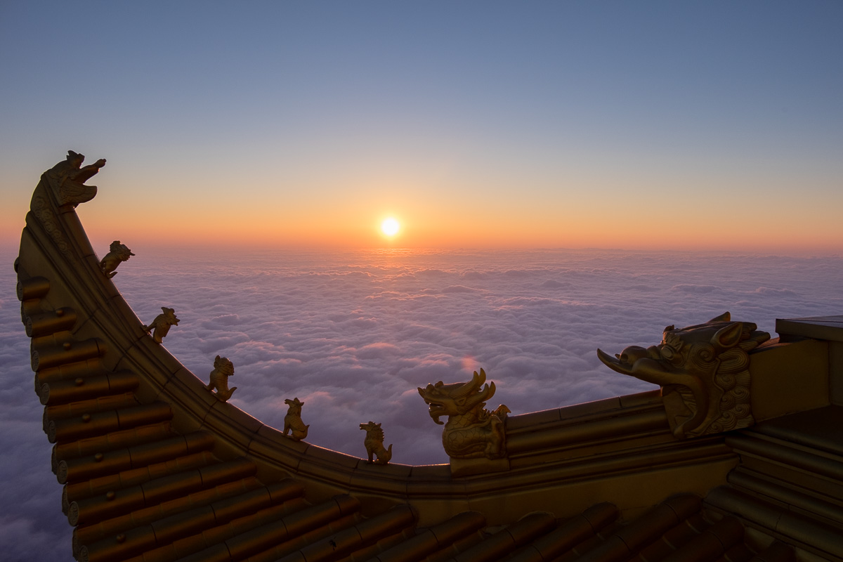 Above a sea of clouds.