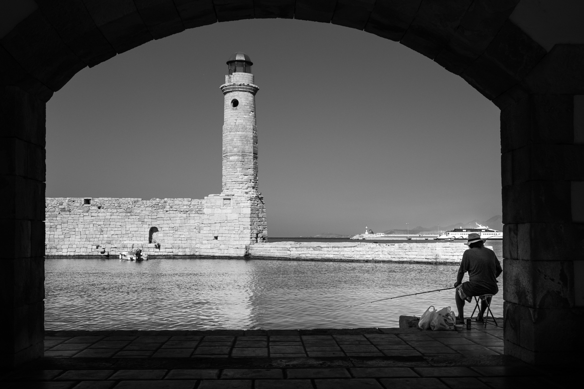 The catch in front of Rethymno lighthouse.
